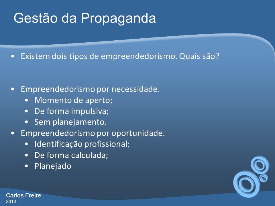 Gestão da Propaganda Carlos Freire 2013 Existem dois tipos de empreendedorismo. Quais são? Empreendedorismo por necessidade. Momento de aperto; De for