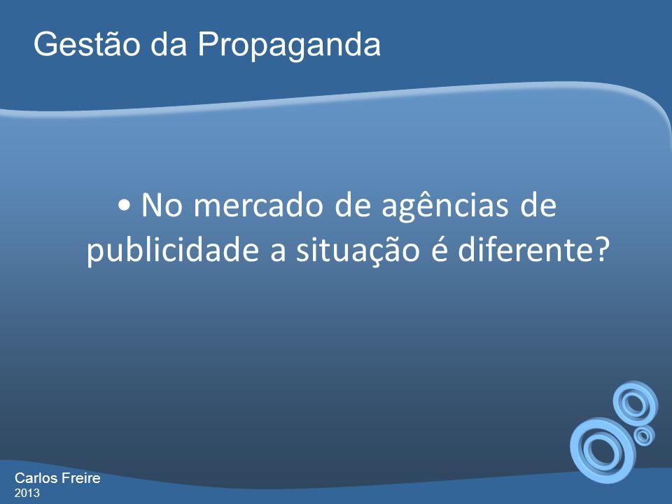 Gestão da Propaganda Carlos Freire 2013 No mercado de agências de publicidade a situação é diferente?
