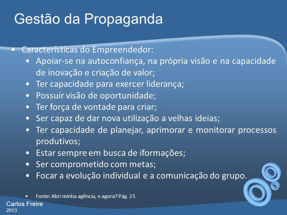 Gestão da Propaganda Carlos Freire 2013 Características do Empreendedor: Apoiar-se na autoconfiança, na própria visão e na capacidade de inovação e cr
