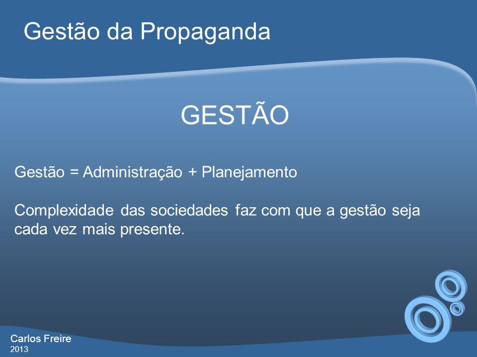 GESTÃO Gestão = Administração + Planejamento Complexidade das sociedades faz com que a gestão seja cada vez mais presente. Gestão da Propaganda Carlos
