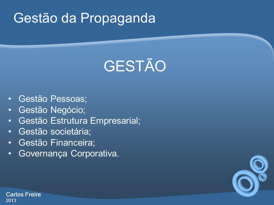 GESTÃO Gestão Pessoas; Gestão Negócio; Gestão Estrutura Empresarial; Gestão societária; Gestão Financeira; Governança Corporativa. Gestão da Propagand