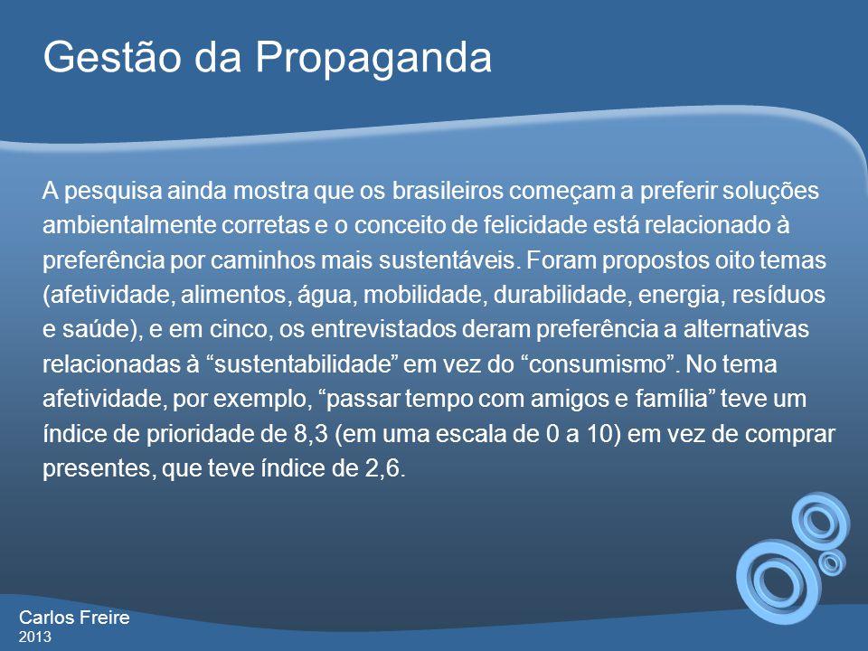 Gestão da Propaganda Carlos Freire 2013 A pesquisa ainda mostra que os brasileiros começam a preferir soluções ambientalmente corretas e o conceito de