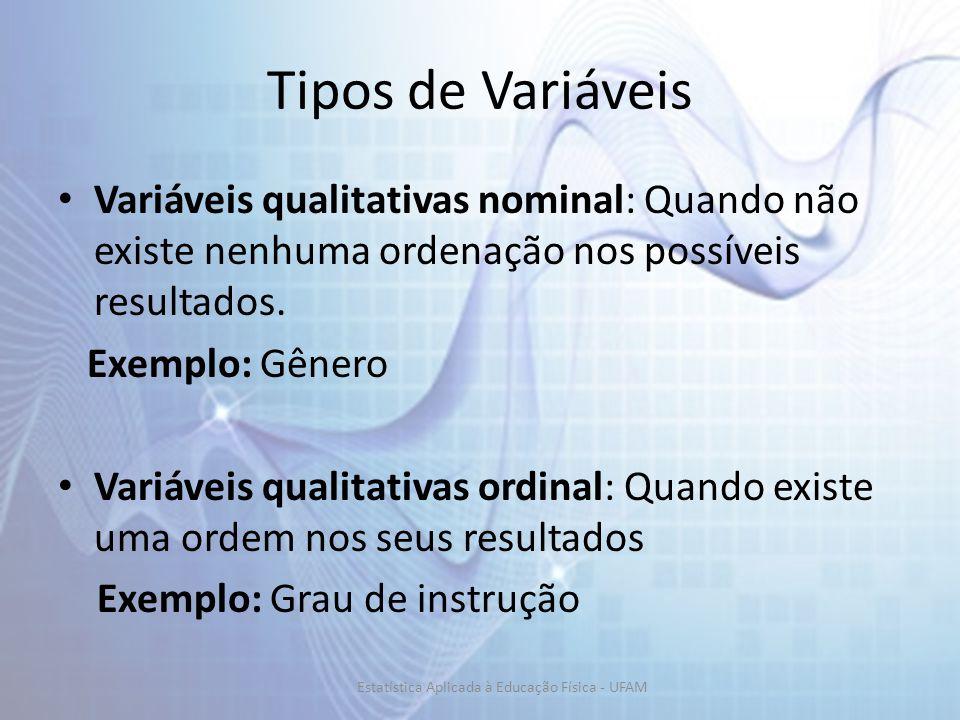Tipos de Variáveis Variáveis qualitativas nominal: Quando não existe nenhuma ordenação nos possíveis resultados. Exemplo: Gênero Variáveis qualitativa