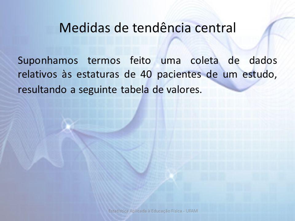 Medidas de tendência central Suponhamos termos feito uma coleta de dados relativos às estaturas de 40 pacientes de um estudo, resultando a seguinte tabela de valores.