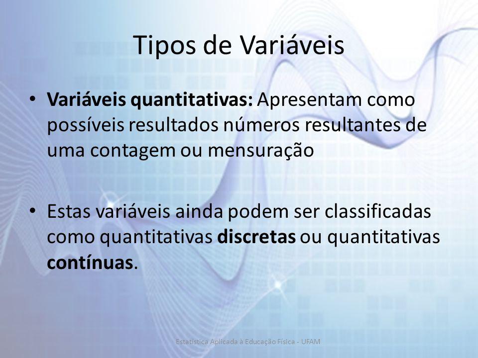 Tipos de Variáveis Variáveis quantitativas: Apresentam como possíveis resultados números resultantes de uma contagem ou mensuração Estas variáveis ainda podem ser classificadas como quantitativas discretas ou quantitativas contínuas.