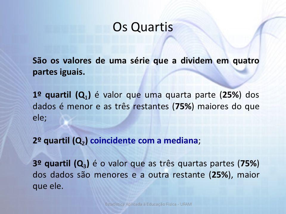 Os Quartis São os valores de uma série que a dividem em quatro partes iguais. 1º quartil (Q 1 ) é valor que uma quarta parte (25%) dos dados é menor e