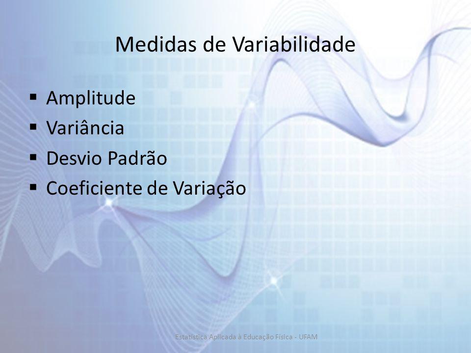 Medidas de Variabilidade Amplitude Variância Desvio Padrão Coeficiente de Variação Estatística Aplicada à Educação Física - UFAM
