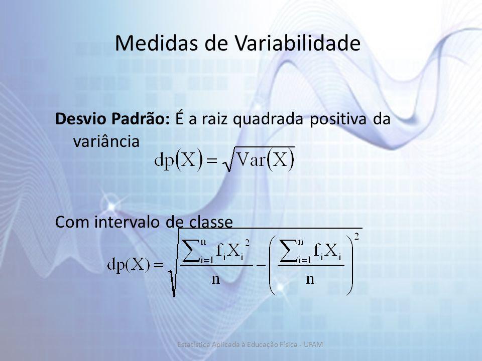 Medidas de Variabilidade Desvio Padrão: É a raiz quadrada positiva da variância Com intervalo de classe Estatística Aplicada à Educação Física - UFAM