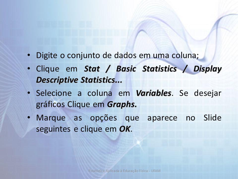 Digite o conjunto de dados em uma coluna; Stat / Basic Statistics / Display Descriptive Statistics... Clique em Stat / Basic Statistics / Display Desc