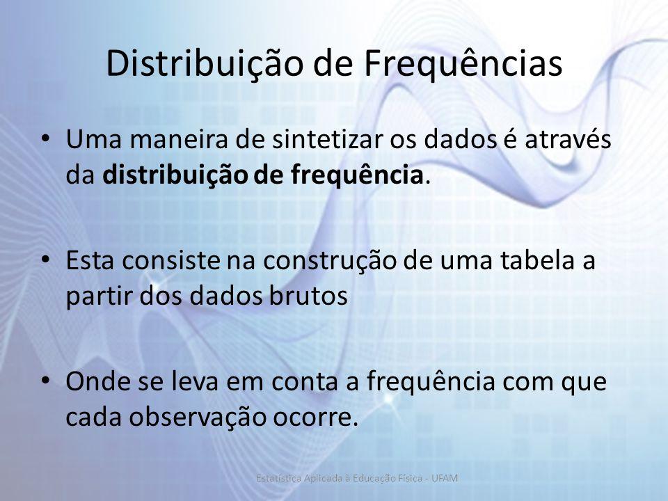 Distribuição de Frequências Uma maneira de sintetizar os dados é através da distribuição de frequência. Esta consiste na construção de uma tabela a pa