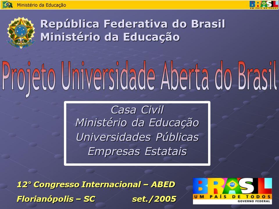 Casa Civil Ministério da Educação Universidades Públicas Empresas Estatais República Federativa do Brasil Ministério da Educação 12° Congresso Internacional – ABED Florianópolis – SC set./2005