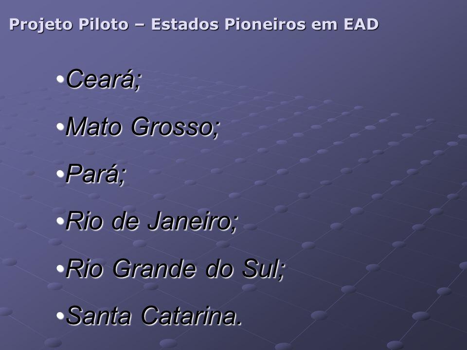 Projeto Piloto – Estados Pioneiros em EAD Ceará;Ceará; Mato Grosso;Mato Grosso; Pará;Pará; Rio de Janeiro;Rio de Janeiro; Rio Grande do Sul;Rio Grande do Sul; Santa Catarina.Santa Catarina.