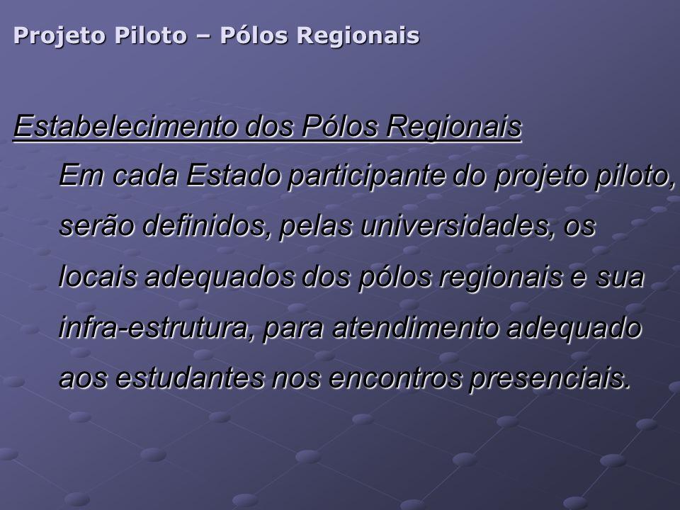 Projeto Piloto – Pólos Regionais Estabelecimento dos Pólos Regionais Em cada Estado participante do projeto piloto, serão definidos, pelas universidades, os locais adequados dos pólos regionais e sua infra-estrutura, para atendimento adequado aos estudantes nos encontros presenciais.