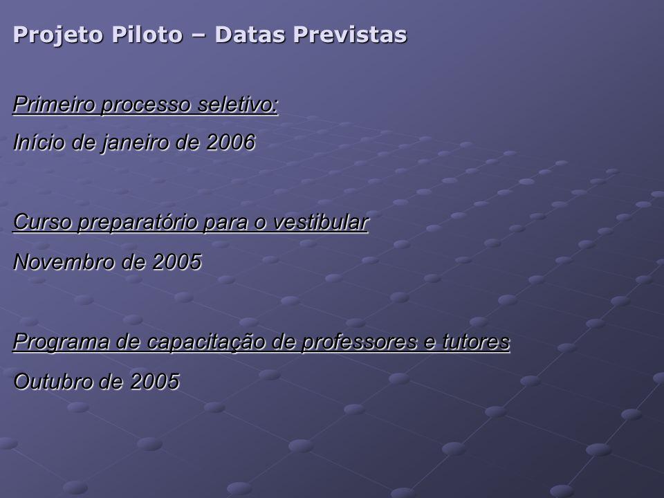 Projeto Piloto – Datas Previstas Primeiro processo seletivo: Início de janeiro de 2006 Curso preparatório para o vestibular Novembro de 2005 Programa de capacitação de professores e tutores Outubro de 2005