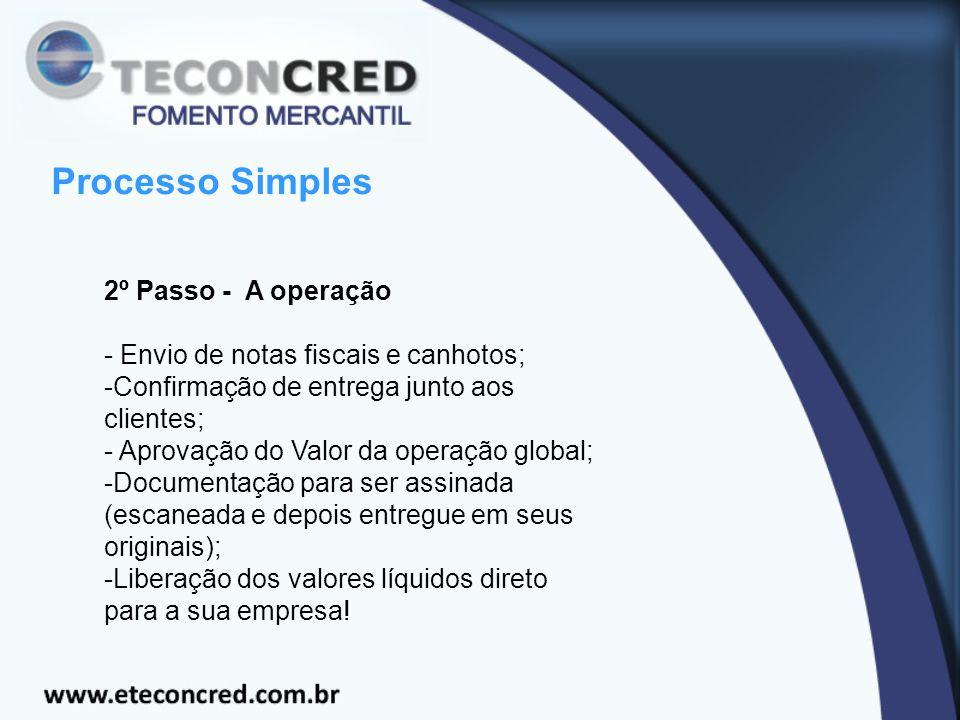 Processo Simples 2º Passo - A operação - Envio de notas fiscais e canhotos; -Confirmação de entrega junto aos clientes; - Aprovação do Valor da operaç