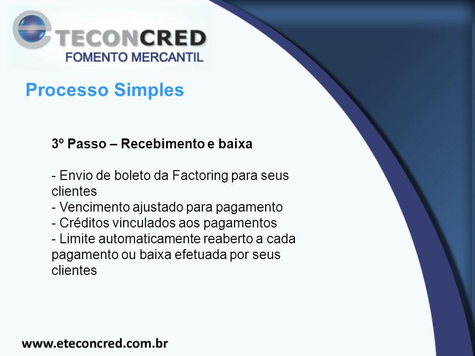 Processo Simples 3º Passo – Recebimento e baixa - Envio de boleto da Factoring para seus clientes - Vencimento ajustado para pagamento - Créditos vinculados aos pagamentos - Limite automaticamente reaberto a cada pagamento ou baixa efetuada por seus clientes