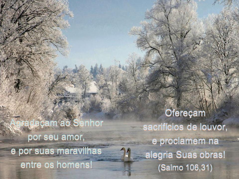 Agradeçam ao Senhor por seu amor, e por suas maravilhas entre os homens.