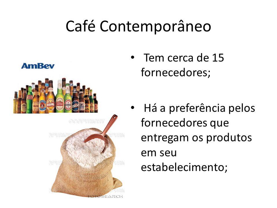 Café Contemporâneo Tem cerca de 15 fornecedores; Há a preferência pelos fornecedores que entregam os produtos em seu estabelecimento;