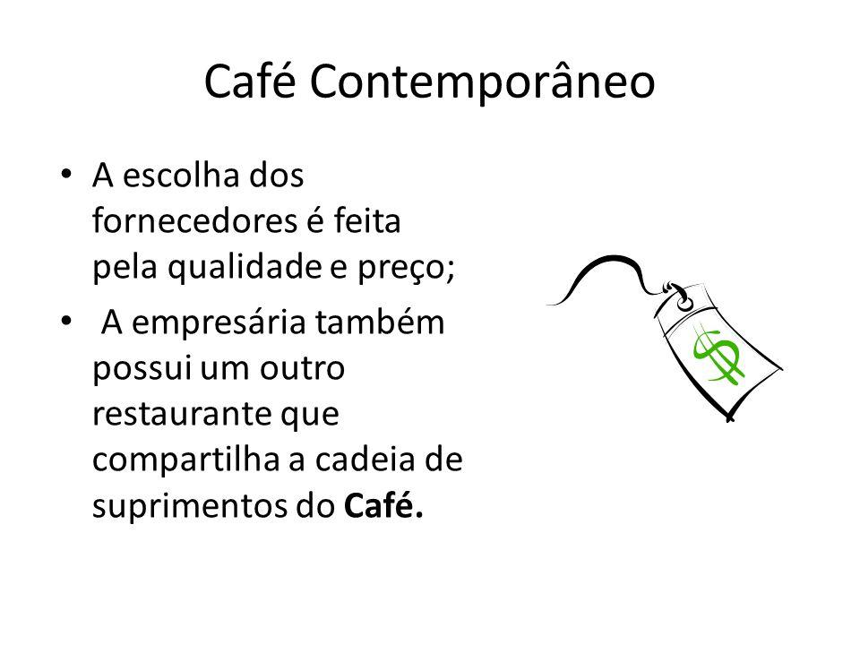 Café Contemporâneo A escolha dos fornecedores é feita pela qualidade e preço; A empresária também possui um outro restaurante que compartilha a cadeia