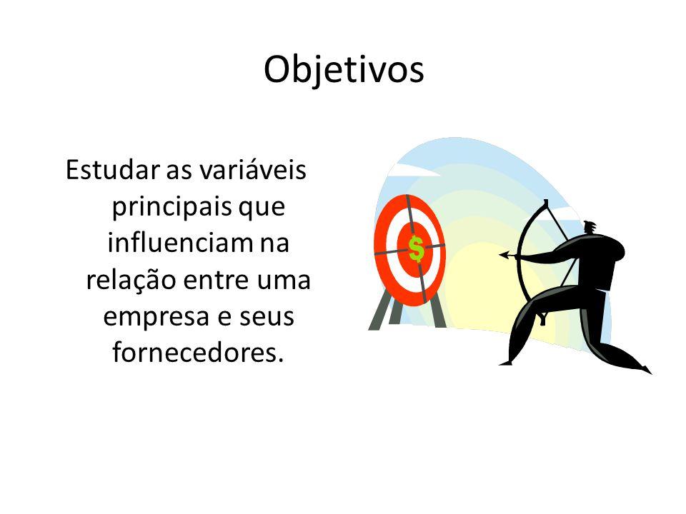 Objetivos Estudar as variáveis principais que influenciam na relação entre uma empresa e seus fornecedores.