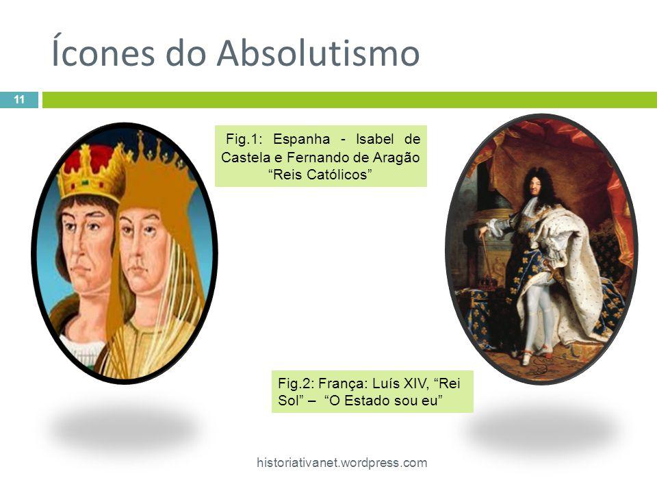 Ícones do Absolutismo historiativanet.wordpress.com 11 Fig.1: Espanha - Isabel de Castela e Fernando de Aragão Reis Católicos Fig.2: França: Luís XIV, Rei Sol – O Estado sou eu