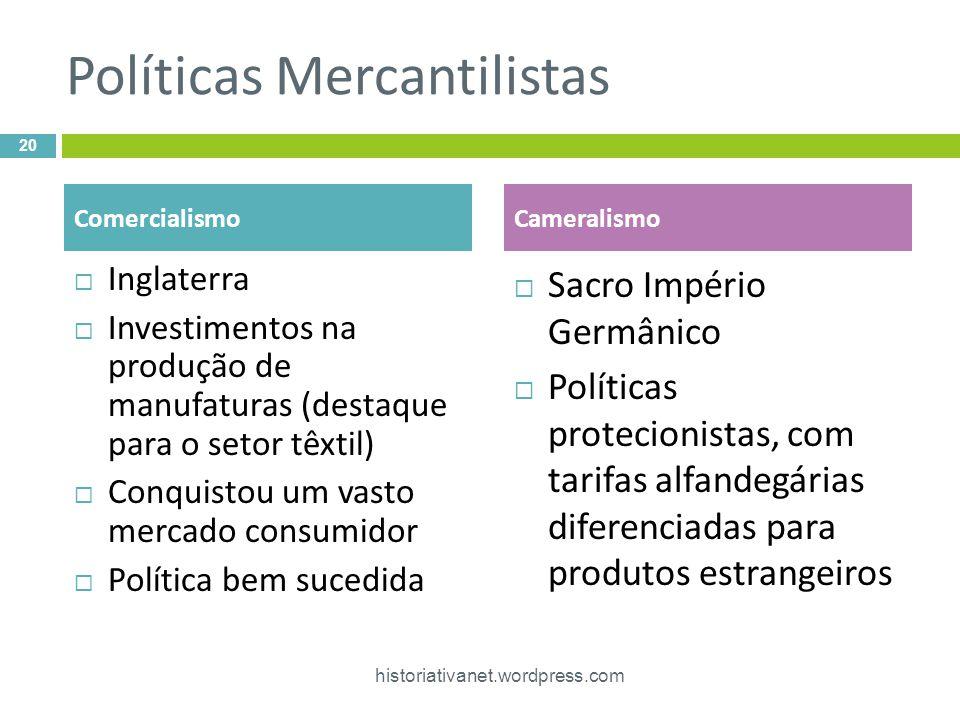 Políticas Mercantilistas Inglaterra Investimentos na produção de manufaturas (destaque para o setor têxtil) Conquistou um vasto mercado consumidor Pol