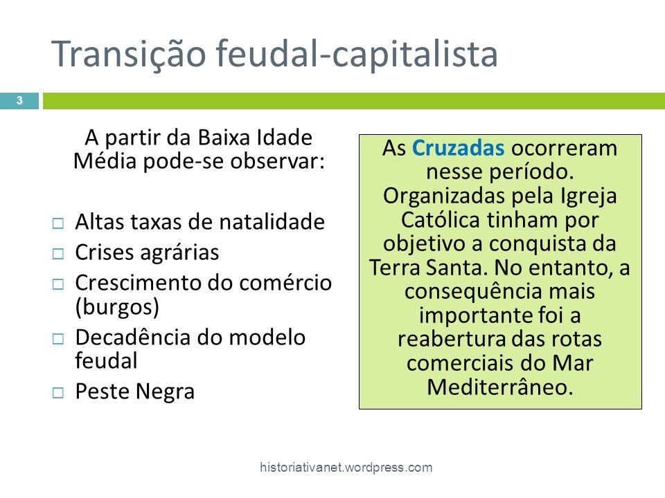 Transição feudal-capitalista A partir da Baixa Idade Média pode-se observar: Altas taxas de natalidade Crises agrárias Crescimento do comércio (burgos