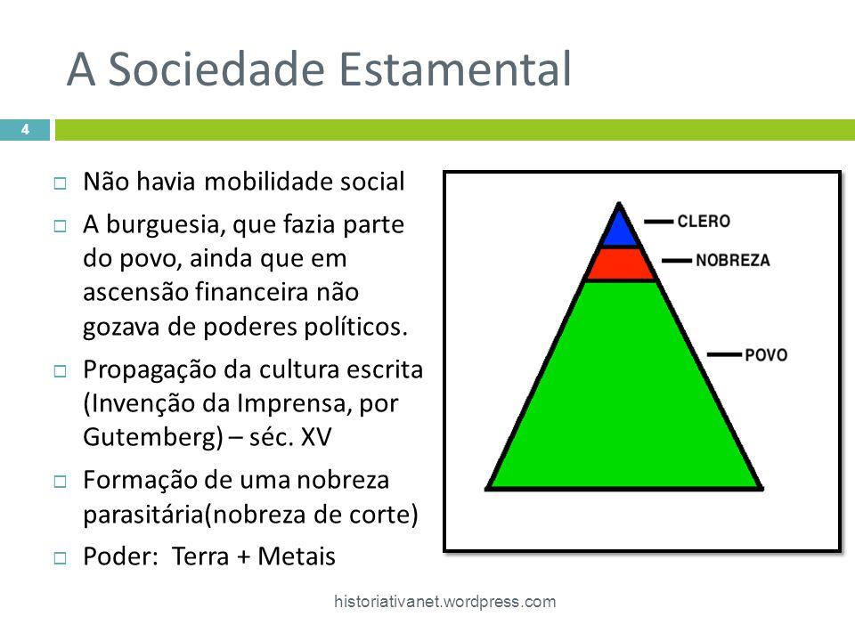 A Sociedade Estamental Não havia mobilidade social A burguesia, que fazia parte do povo, ainda que em ascensão financeira não gozava de poderes políti