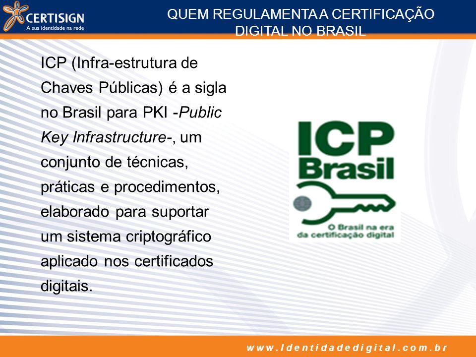 w w w. I d e n t i d a d e d i g i t a l. c o m. b r ICP (Infra-estrutura de Chaves Públicas) é a sigla no Brasil para PKI -Public Key Infrastructure-
