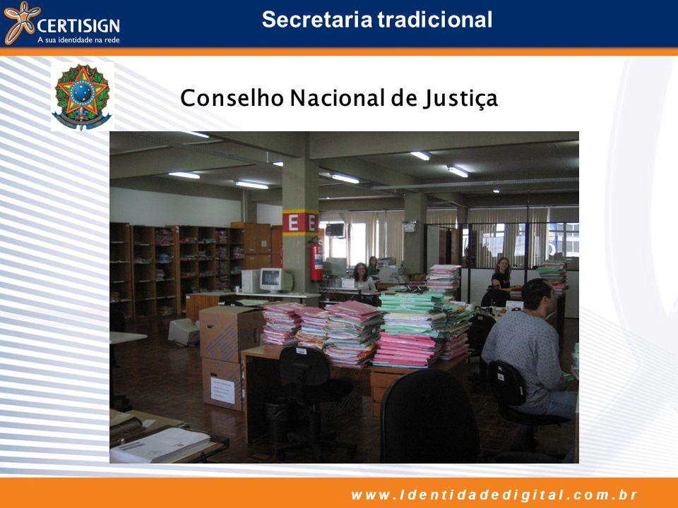 w w w. I d e n t i d a d e d i g i t a l. c o m. b r Secretaria tradicional Conselho Nacional de Justiça