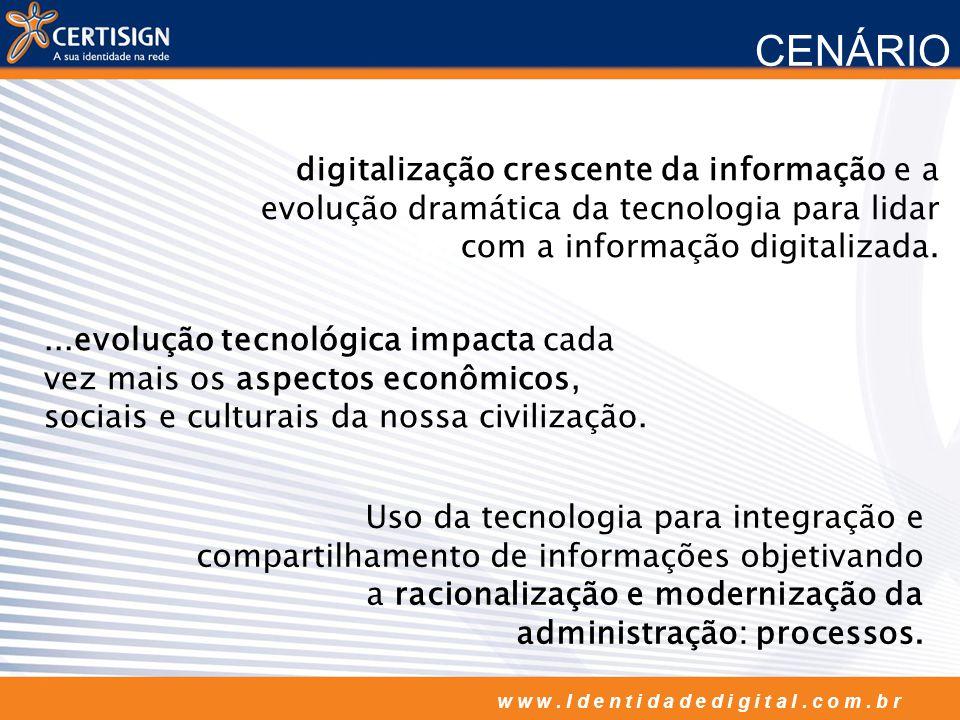 w w w. I d e n t i d a d e d i g i t a l. c o m. b r CENÁRIO digitalização crescente da informação e a evolução dramática da tecnologia para lidar com