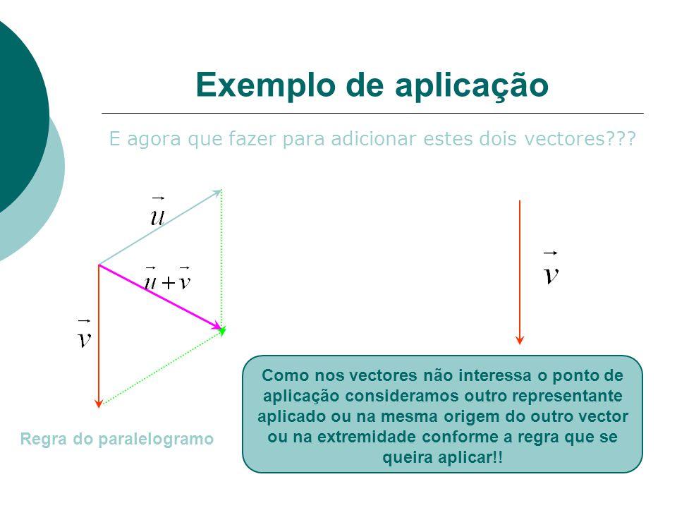Exemplo de aplicação E agora que fazer para adicionar estes dois vectores??.