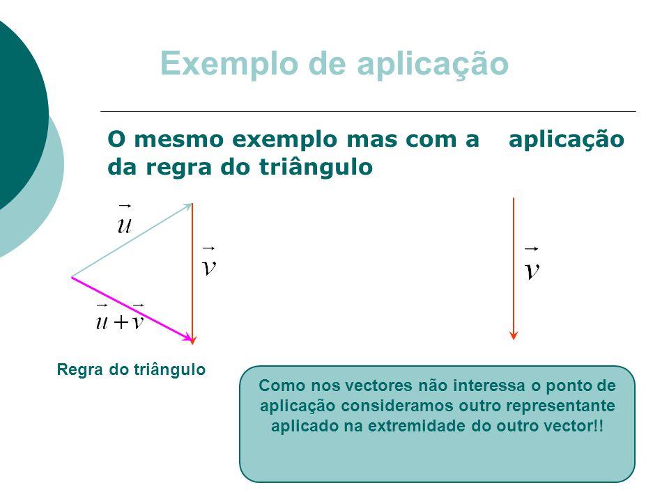 Exemplo de aplicação O mesmo exemplo mas com aaplicação da regra do triângulo Como nos vectores não interessa o ponto de aplicação consideramos outro representante aplicado na extremidade do outro vector!.