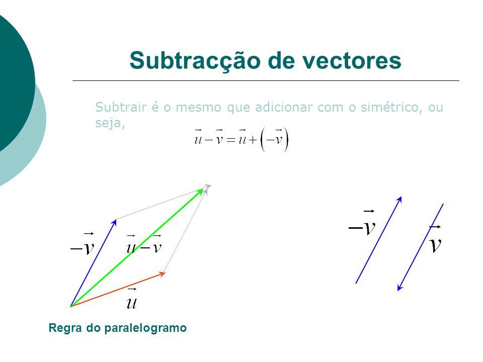 Subtracção de vectores Subtrair é o mesmo que adicionar com o simétrico, ou seja, Regra do paralelogramo