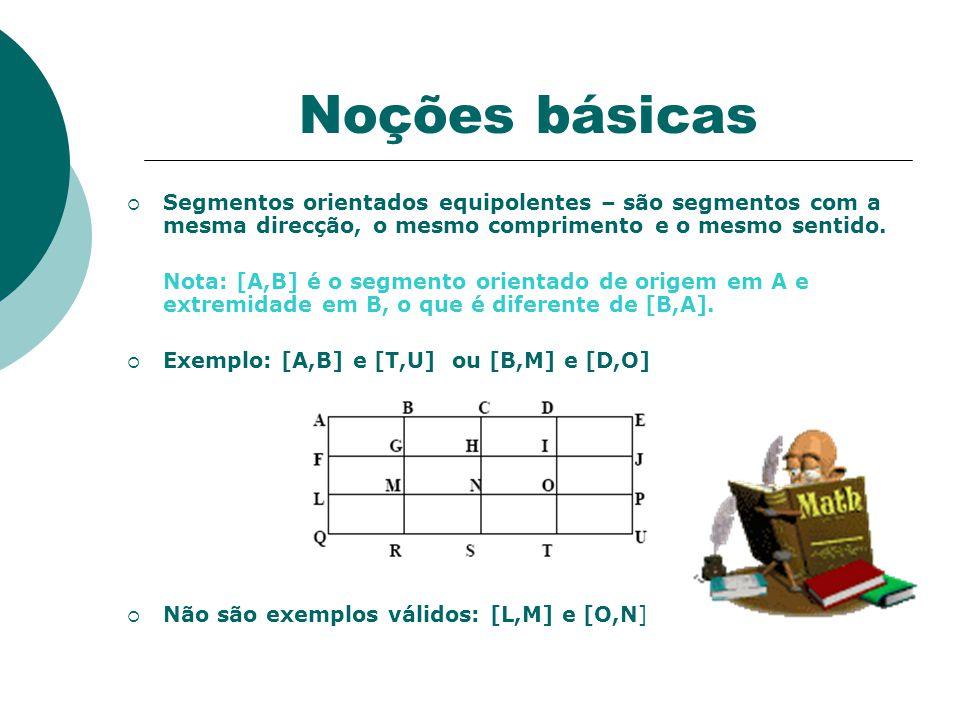 Vector (ou vector livre) Um vector livre é um ente matemático caracterizado por uma direcção um sentido e um comprimento.