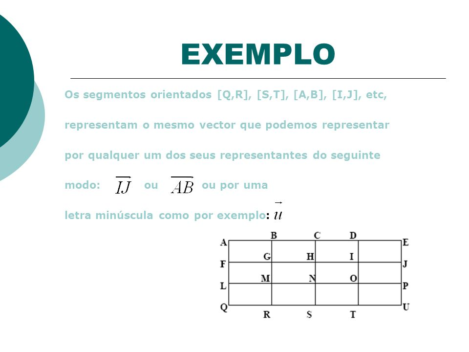 EXEMPLO Os segmentos orientados [Q,R], [S,T], [A,B], [I,J], etc, representam o mesmo vector que podemos representar por qualquer um dos seus representantes do seguinte modo: ou ou por uma letra minúscula como por exemplo: