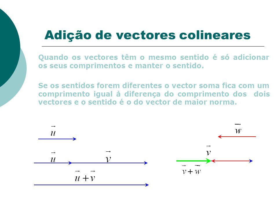 Adição de vectores colineares Quando os vectores têm o mesmo sentido é só adicionar os seus comprimentos e manter o sentido.