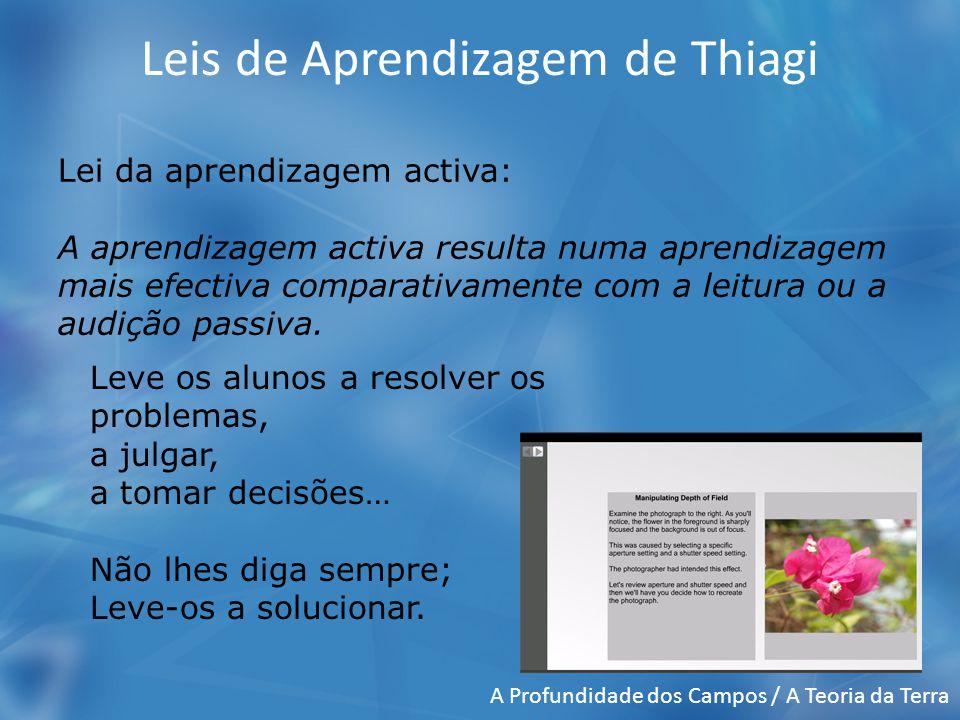 Leis de Aprendizagem de Thiagi Lei da aprendizagem activa: A aprendizagem activa resulta numa aprendizagem mais efectiva comparativamente com a leitura ou a audição passiva.