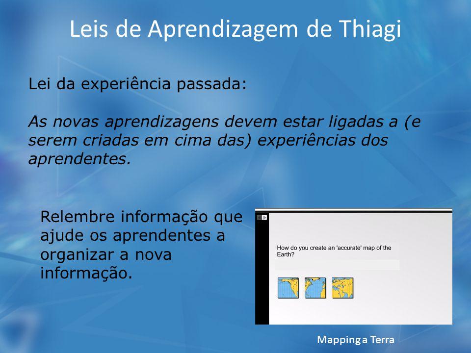 Leis de Aprendizagem de Thiagi Lei da experiência passada: As novas aprendizagens devem estar ligadas a (e serem criadas em cima das) experiências dos aprendentes.