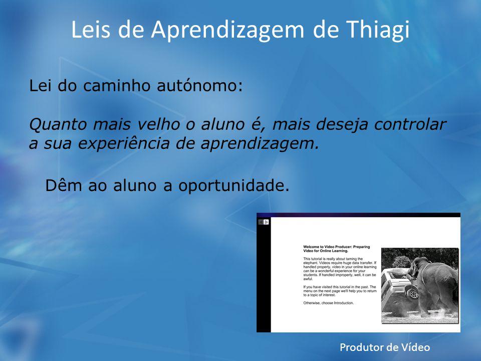 Leis de Aprendizagem de Thiagi Lei do caminho autónomo: Quanto mais velho o aluno é, mais deseja controlar a sua experiência de aprendizagem. Dêm ao a