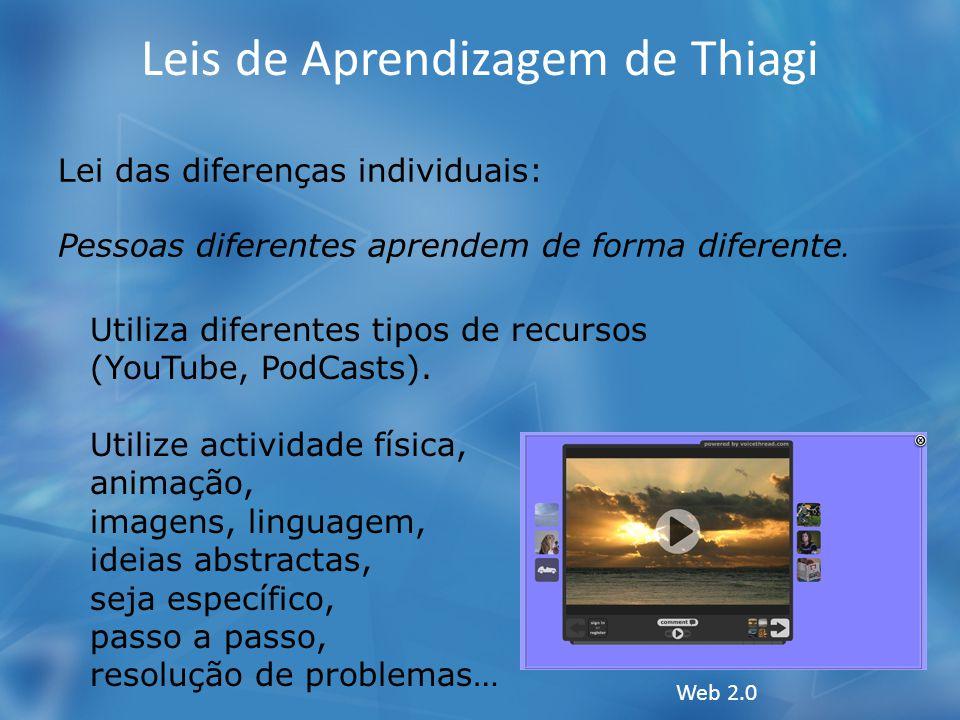 Leis de Aprendizagem de Thiagi Lei das diferenças individuais: Pessoas diferentes aprendem de forma diferente. Utiliza diferentes tipos de recursos (Y