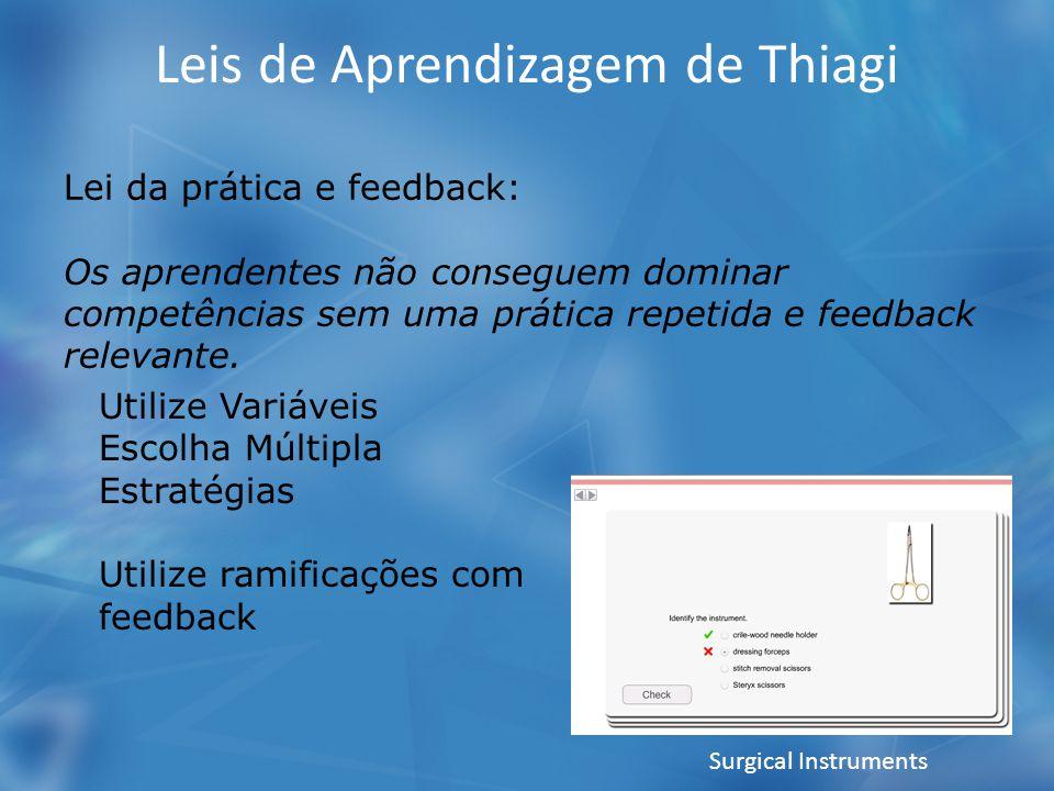Leis de Aprendizagem de Thiagi Lei da prática e feedback: Os aprendentes não conseguem dominar competências sem uma prática repetida e feedback relevante.