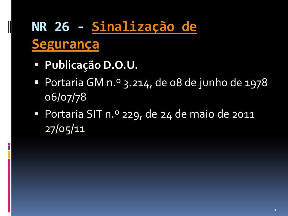 NR 26 - Sinalização de SegurançaSinalização de Segurança Publicação D.O.U. Portaria GM n.º 3.214, de 08 de junho de 1978 06/07/78 Portaria SIT n.º 229