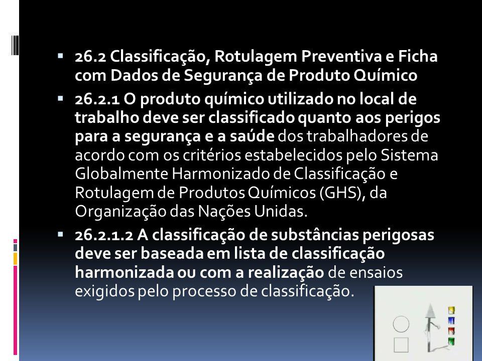 26.2 Classificação, Rotulagem Preventiva e Ficha com Dados de Segurança de Produto Químico 26.2.1 O produto químico utilizado no local de trabalho dev