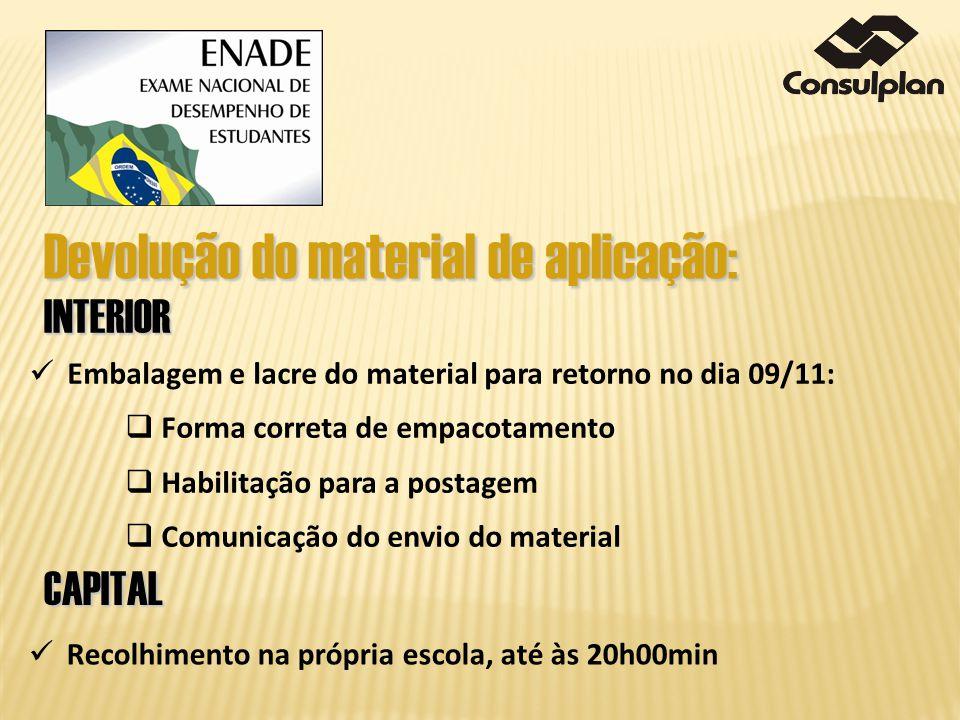 Embalagem e lacre do material para retorno no dia 09/11: Forma correta de empacotamento Habilitação para a postagem Comunicação do envio do material D
