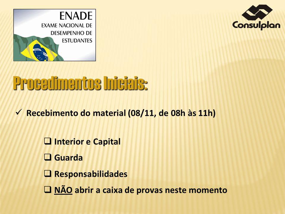 Recebimento do material (08/11, de 08h às 11h) Interior e Capital Guarda Responsabilidades NÃO abrir a caixa de provas neste momento Procedimentos Ini