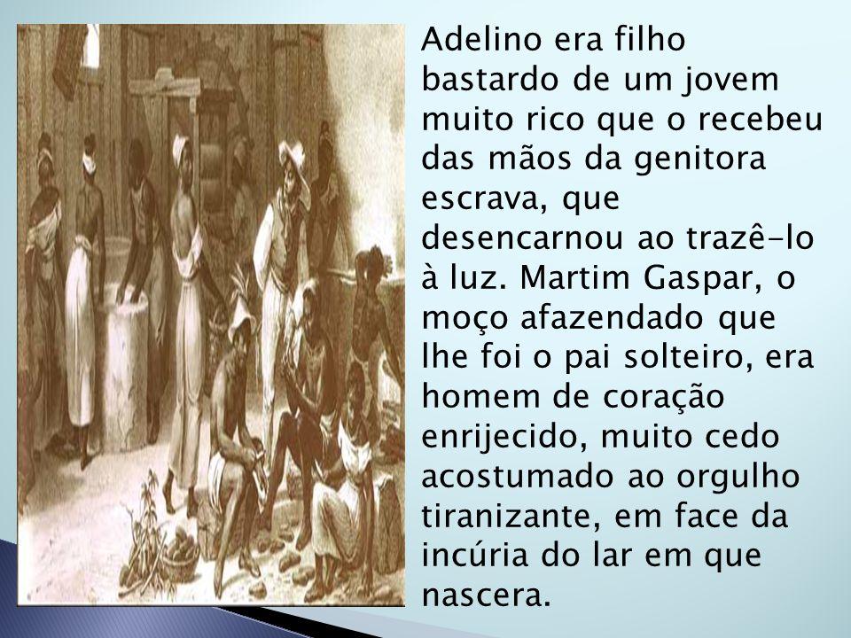 Adelino era filho bastardo de um jovem muito rico que o recebeu das mãos da genitora escrava, que desencarnou ao trazê-lo à luz. Martim Gaspar, o moço
