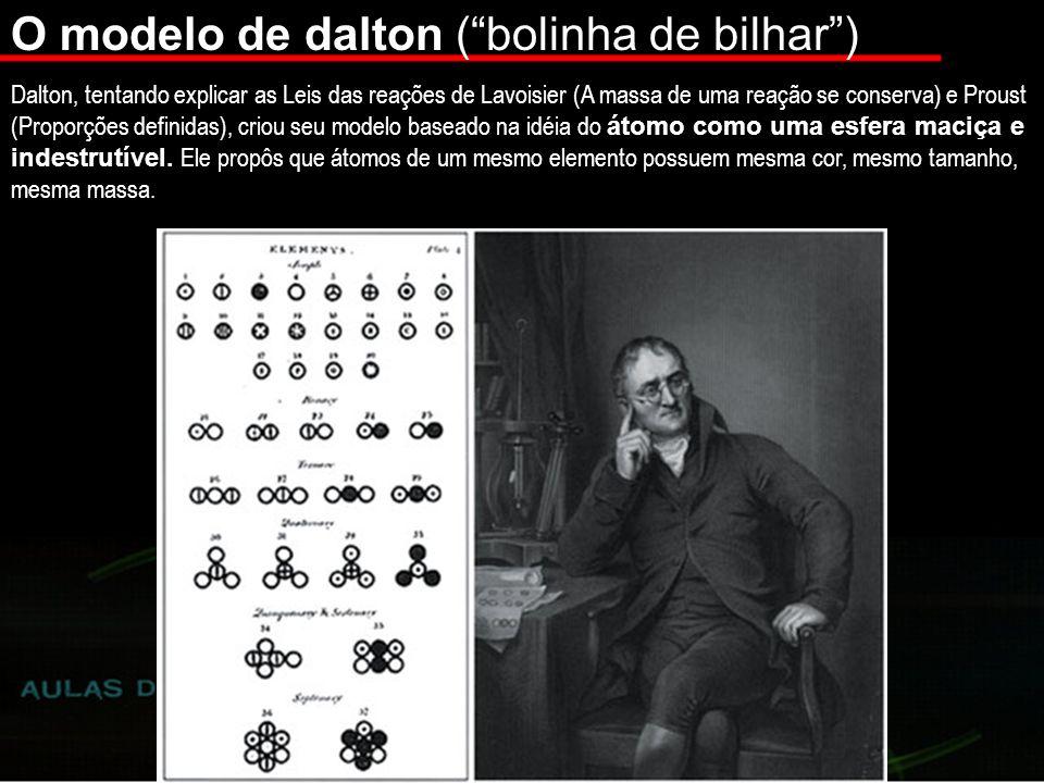 O modelo de dalton (bolinha de bilhar) Dalton, tentando explicar as Leis das reações de Lavoisier (A massa de uma reação se conserva) e Proust (Proporções definidas), criou seu modelo baseado na idéia do átomo como uma esfera maciça e indestrutível.