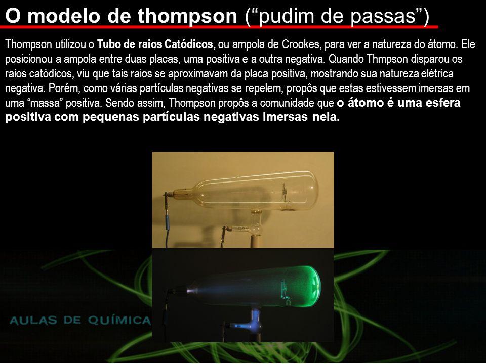 O modelo de thompson (pudim de passas) Thompson utilizou o Tubo de raios Catódicos, ou ampola de Crookes, para ver a natureza do átomo.