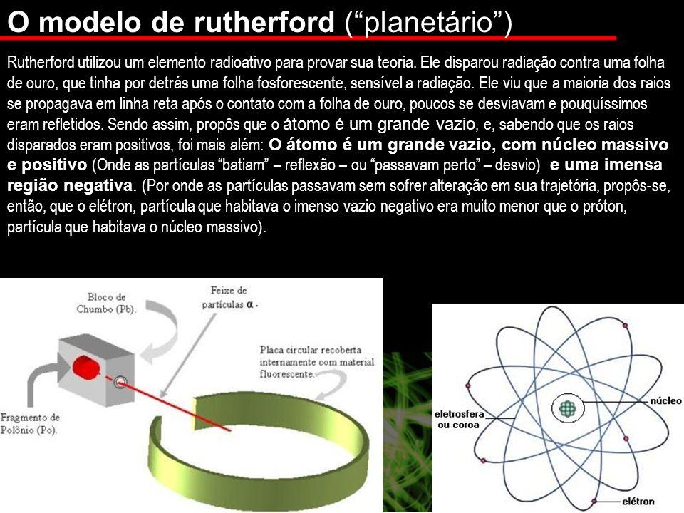 O modelo de rutherford (planetário) Rutherford utilizou um elemento radioativo para provar sua teoria.